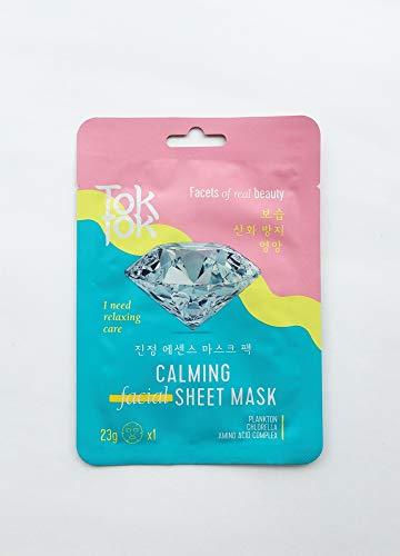 TokTok Calming Hoja Máscara con vitaminas – Mascarilla facial con elementos minerales, hialurónico coreano, cuidado de la piel, cosmética coreana, hidratante Sheet Mask aminoácido, 1 unidad.