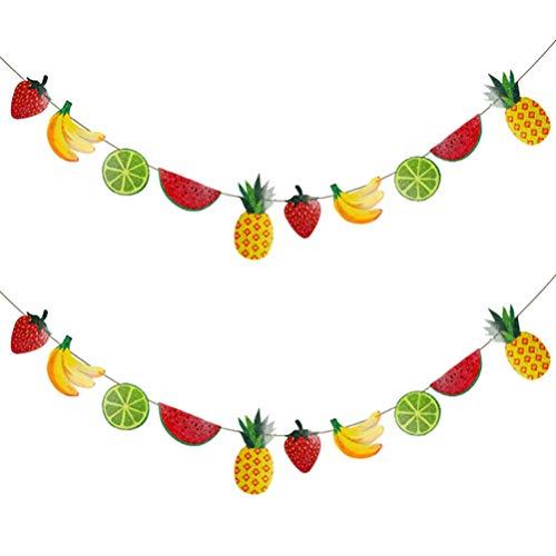 TOYANDONA 2Pcs Summer Fruits Banner Watermelon Banana Kiwi Pineapple Garland Paper Pull Flag Summer Tropical Tutti Frutti Bunting Banner for Birthday Summer Luau Hawaii Decor