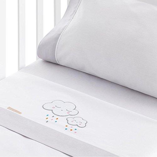 Burrito Blanco Juego de Sábanas de Coralina 907 Blancas con Bordado de Nubes y Lluvia de Colorines de Bebé para Cuna de 60x120 cm, Gris
