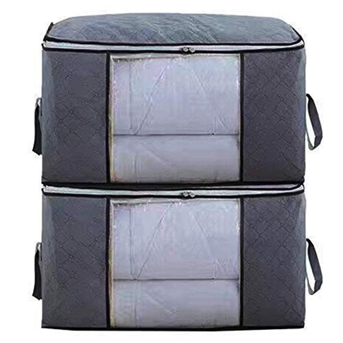 Qedimah Clothes Storage Bags Large Capacity, Clothes Organizer Quilt Bags Under-Bed Storage Bags (2 Pack)