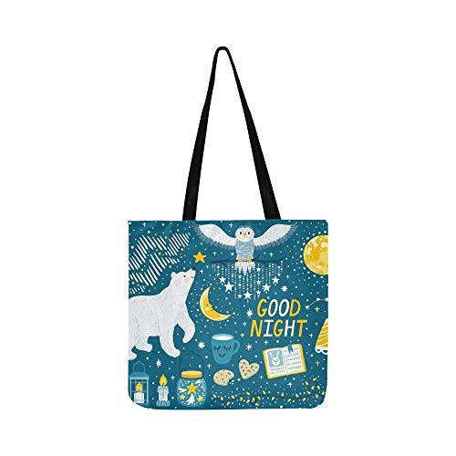 Vektor Set Gute Nacht Eisbär Leinwand Tote Handtasche Schultertasche Crossbody Taschen Geldbörsen Für Männer Und Frauen Einkaufstasche