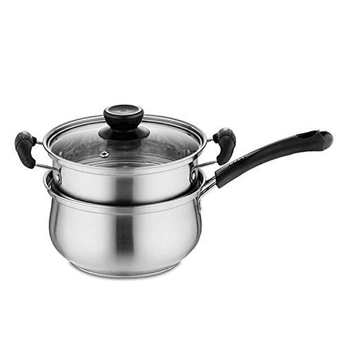 FLLOVE FANGLIANG Edelstahltopf 1.5l Suppentopf-Kochen von mehrzweck-Kochgeschirr mit Dampfertopf-Küchen-Non-Stick-Pan Allgemeine Verwendung (Capacity : 1.5L, Color : with Steamer Pot)