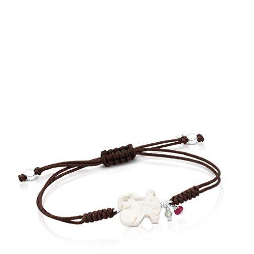 TOUS Pulsera ajustable New Tibet de plata de primera ley y magnesita con rubí y apatito con cordón negro, Oso 1,24 cm.