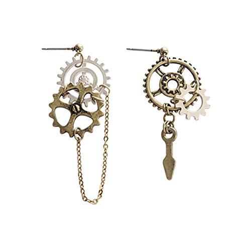 Cosanter Damen Lange Ohrringe Zahnrad Form Kreative Asymmetrische Ohrstecker Legierung Schmuck Stil C