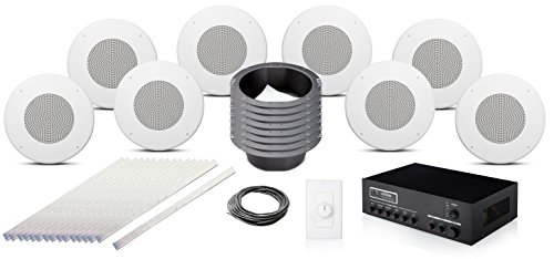 JBL CSS8018 8 inch 70 Volt In Ceiling Speaker Bundle with Pure Resonance Audio MA30BT Bluetooth Mixer Amplifier and Accessories - Office Sound System (8 Speakers, White)