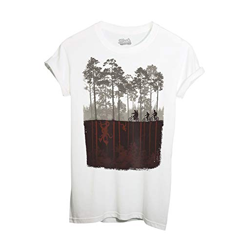MUSH T-Shirt Stranger Things Biciclette - Film by Dress Your Style - Uomo-L-Bianca
