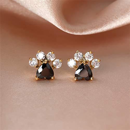 Pendientes retro de oro rosa con diseño de huella de gato negro con forma de corazón para mujer, joyería de boda, joyería vintage de moda con huellas de animales (color de metal: oro)