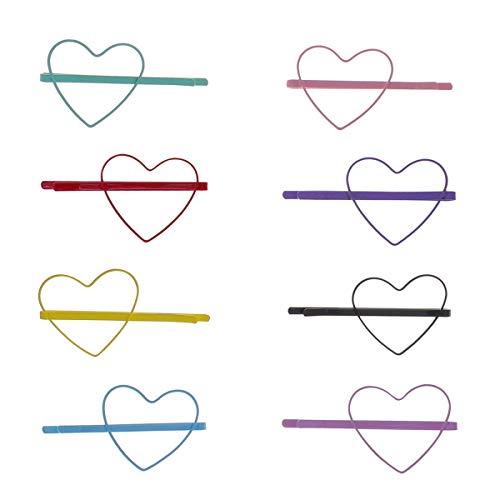 Lurrose 8 paires de pinces à cheveux couleur bonbon amour coeur creux épingles à cheveux pinces pinces barrettes cheveux accessoires pour bébé fille anniversaire cadeau de noël