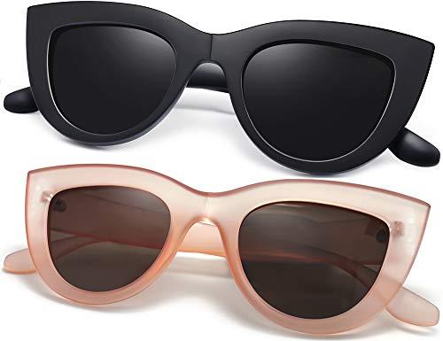 Joopin Gafas de Sol Mujer Ojos de Gato Retro UV400 Gafas Polarizadas de Moda Cateye Estilo Vintage (Negro+Rosa)