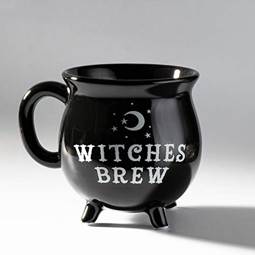 Summit Collection 12 fl oz Witch's Brew Cauldron Mug Ceramic Drinkware Halloween Decor Tabletop Decoration (Black)