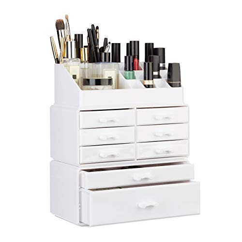 Relaxdays 10023135_49 Organizzatore Make-Up con Cassetti, Porta-Trucchi e Accessori, Acrilico, Bianco, 14 x 24 x 30 cm