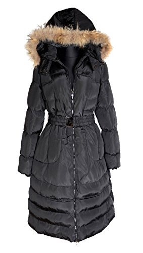 Italy Donna Damen Lang Wintermantel Ballon Mantel Fell Kapuze Steppmantel Parka Trench Coat schwarz 40 42 44 46 48 50 52 M L XL XXL 3XL warm Jacke (44)
