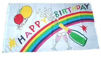 Fahne Flagge Happy Birthday Geburtstag NEU 90 x 150 cm