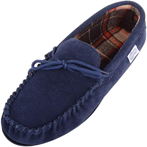 SNUGRUGS Mens Cotton Lined Suede Moccasin Slipper with Rubber Sole - Navy -...