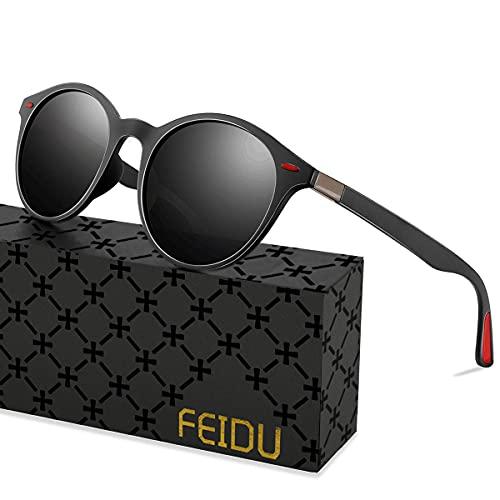 FEIDU Rund Sonnenbrille Herren Polarisiert VU400 Täglicher Gebrauch Wie Angeln Radfahren Sonnenbrille Damen FD 2166 (1.1-schwarz Schwarz)