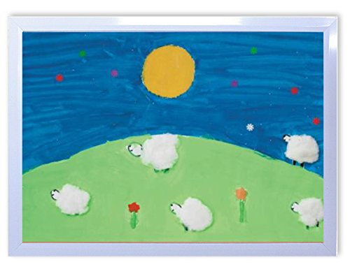 DX ポスター 子供地球基金 花のような羊たち フレーム付き 白 44cm×32cm 日本製 撥水 P-A3-KEF-V-13-0000-wh