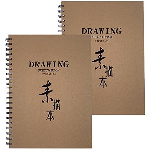 XUBX 2 piezas Bloc de Dibujo A4 con Espiral, Cuadernos de Dibujo, Sketchbook con Tapa Dura 30 Hojas, Cuadernos de Papel Kraft en Blanco, Cuaderno de Bocetos, DIY Libros de Visitas para Escribir Dibujo