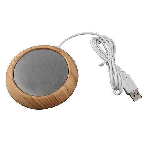 Fastar Heizung für Kaffetassen mit USB-Anschluss, Untersetzer, Tassenwärmer, elektrischer USB-Untersetzer für das Heimbüro Light Wood Grain