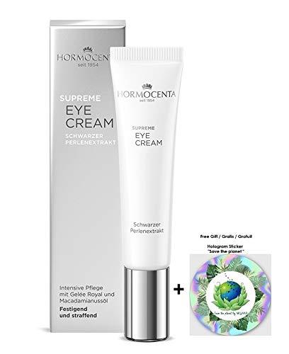 HORMOCENTA Supreme Eye Cream - Intensive Pflege mit Extrakt aus schwarzen Perlen, Gelée Royal und luxuriösen Seidenschimmerpartikeln, 15 mL (+ Gratis Hologram Sticker)