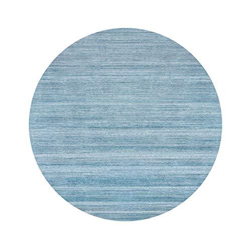 JCOCO Tapis Rond Moderne créatif Style européen Simplicité Salon Chambre Anti-dérapant Anti-Usure Tapis Panier pivotant Chaise Tapis (Couleur : Su Blue, Taille : 120 * 120cm)