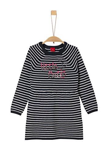s.Oliver Mädchen 58.909.82.2984 Kleid, Blau (Blue Knitted Stripes 59g0), 128 (Herstellergröße: 128/REG)
