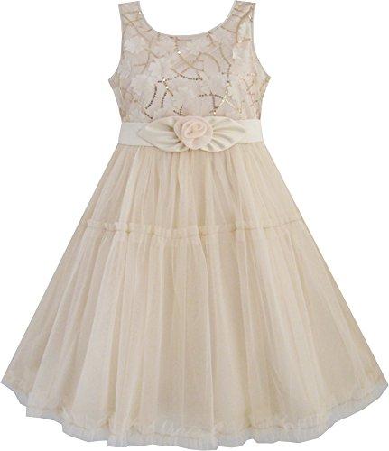 Mädchen Kleid Shinning Pailletten Beige Tüll Schichten Hochzeit Gr.116-122