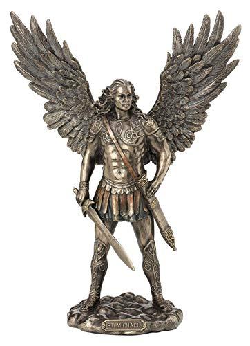 Veronese 708-7496 Erzengel Michael mit Schwert bronziert Skulptur Statue Figur Engel Angel Figurine