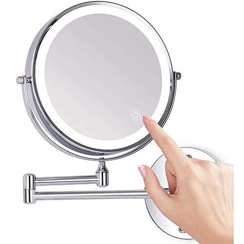 Loywe Beleuchtet Kosmetikspiegel 10-Fach mit Beleuchtung LED Wandmontage Touchscreen für Badezimmer, Kosmetikstudio, Spa und Hotel EU Plug, LW70