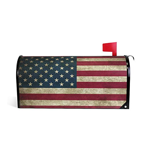 Wamika July 4Th Independence Day USA American Flag Welcome Magnetic Mailbox Post Box Cover Wraps Standard Size 20.8(L) x 18(W) Makover MailWrap Garden Home Decor