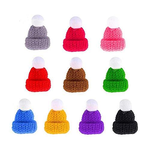 DyAi Christmas Knit Hat, 55Pcs Mini Knit Hat Christmas Tree Ornaments, Cute Doll Hat, Jewelry Making DIY Craft Art
