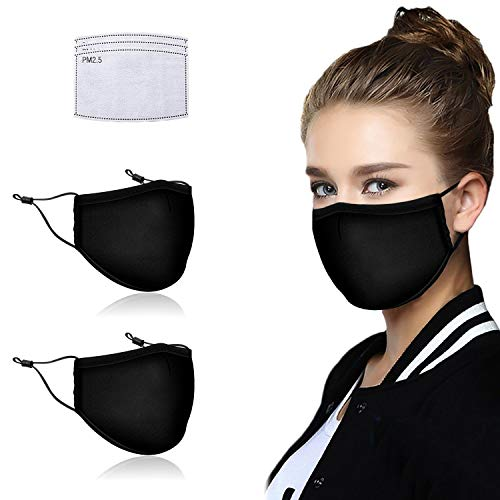 Facial Protection Filtration 95%, Anti-Fog, Dust-Proof Adjustable Nose wire Headgear Full Face Protection Masks(2 Pack With 3 Pcs activated carbon filter)