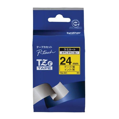 ピータッチ ラミネートテープ 黄ラベル TZe-651 [黒文字 24mm×8m]