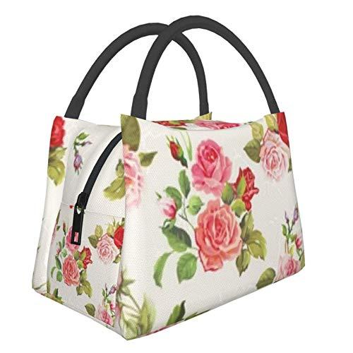Bolsa de almuerzo portátil con aislamiento Cool (Vintage Roses Pattern) 8.5L