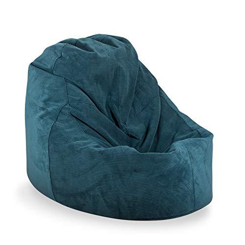 MiPuf - Puff Lounge Pana - 80x115x90 cm - Tejido Alta Resistencia - Doble Costura y Doble Cremallera - Relleno Incluido - Azul Oscuro - 4 años de Garantía