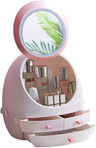 Leifeng Tower Multifunctional Cosméticos Maquillaje y joyería Gran Caja de Almacenamiento Pantalla Elegante tocador, Conjunto de tocador de Dormitorio, Caja de baño (Blanco)