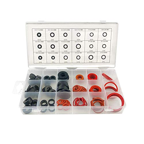 141 Piece Faucet Seal Washer Water Sealer Rubber Fiber Klingerith O ring Assortment (141pcs)