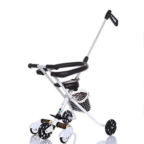 Bébé GUO@ Chariot à 5 Roues, Chariot De Voyage LéGer Et Pliable, PréVention des Renversements, Voiture d'enfant Tricycle pour Enfants, Poussette De 2 à 6 Ans