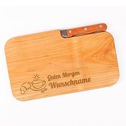 Cera & Toys® Frühstücksbrett aus Holz mit Messer und gratis Gravur des Namens - Guten Morgen