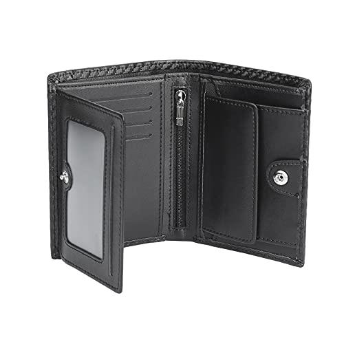 Portefeuille Homme Cuir Porte-Monnaie RFID/NFC Blocage 1 Grand Compartiment de sécurité zippé, 9 Porte Carte Crédits, 2 Compartiment à Billets, Grande Poche à Monnaie, Classique Porte Feuille Noir