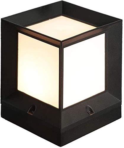 Accesorios de construcción Columna de transmisión de luz de 5 lados Luz Aluminio fundido a presión Caja negra Patio Césped Lámpara de mesa impermeable externa Iluminación de seguridad para exterior