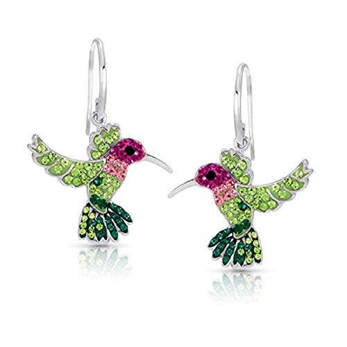 Colorful Flying Hummingbird Crystal Earrings Never Rust 925 Sterling Silver with Hypoallergenic Hooks For Women & Girls with Free Breathtaking Gift Box for The Miracle of Living