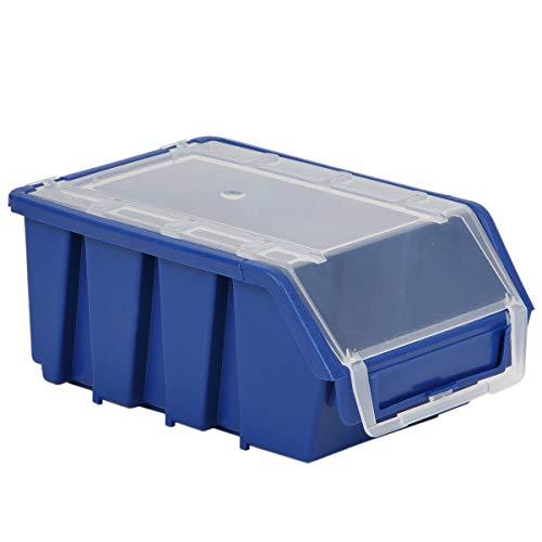 Blau Box Stapelboxen 8 kg Traglast Sichtlagerbox Kiste mit Deckel Kunststoffkiste Lagerkiste