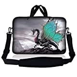 LSS 17 inch Laptop Sleeve Bag Carrying Case Pouch w/Handle & Adjustable Shoulder Strap for 17.4' 17.3' 17' 16' Apple Macbook, GW, Acer, Asus, Dell, Hp, Sony, Toshiba, Flying Dragon