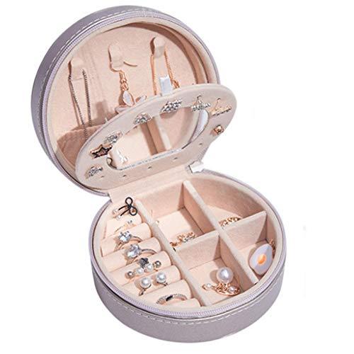 Joyero Joyero y Expositor de Cuero PU Pendientes de Anillo de 2 Capas con Espejo, Collar, Pulsera, Bolsa de Almacenamiento y joyero