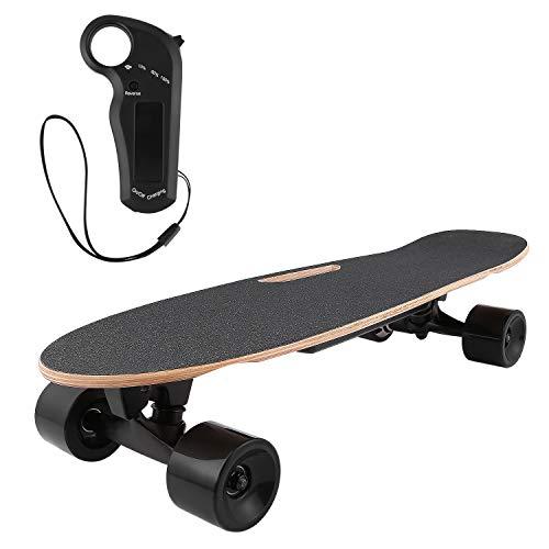 AMDirect Skateboard Elettrico con Telecomando e Sistema Push-Pull Longboard E-Board con Motore Li-Ion 2.2 Ah Velocità a 20 km / h per Adolescenti Adulti