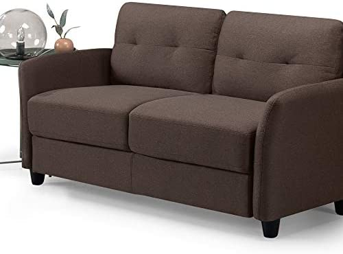 Best Zinus Ricardo Contemporary Upholstered 62.2 Inch Couch / Loveseat, Chestnut Brown