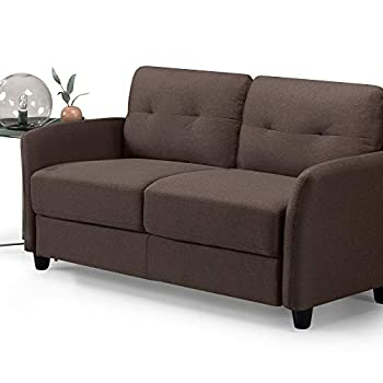 ZINUS Ricardo Loveseat Sofa / Tufted Cushions / Easy Tool-Free Assembly Chestnut Brown