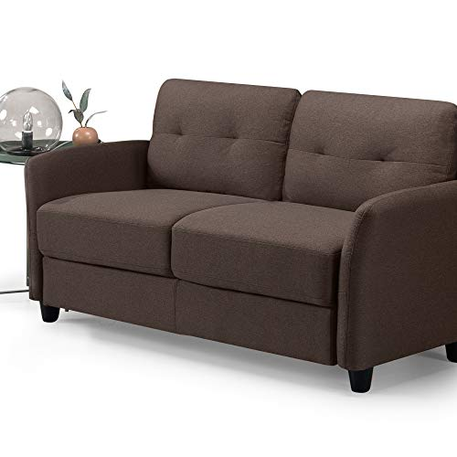ZINUS Ricardo Loveseat Sofa / Tufted Cushions / Easy, Tool-Free Assembly, Chestnut Brown