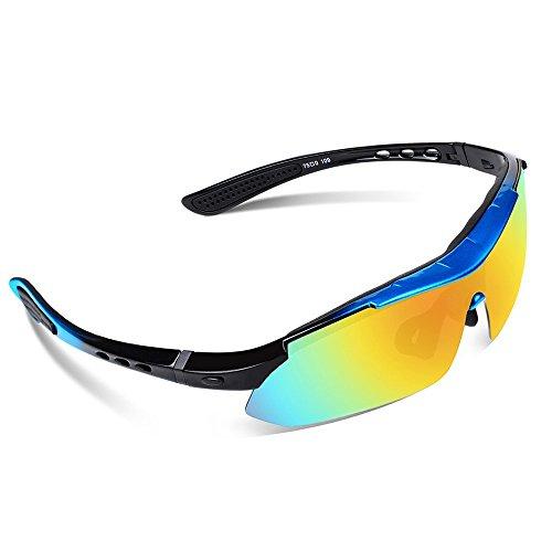 Sport Sonnenbrille Fahrradbrille Sportbrille mit UV400 5 Wechselgläser inkl Schwarze polarisierte Linse für Outdooraktivitäten wie Radfahren Laufen Klettern Autofahren Laufen Angeln Golf Unisex - 2