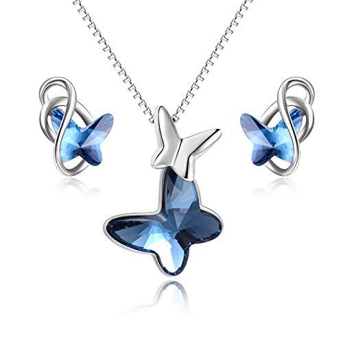 Schmetterling Schmuckset Silber 925 Damen Schmetterling Anhänger Kette und Ohrringe Set mit Kristallen von Swarovski (Blau)
